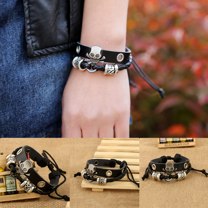Men PU Leather Skull Bracelet Rock Punk Alloy Skeleton Charms Cuff Bangle Casual Jewelry Gifts KQS8