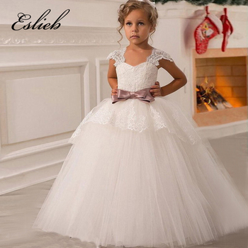 Elegant Flower Girls Pageant Lace Cap Sleeves Sweet Heart Dresses Vestidos Comunion Lace Ball Gowns With Flush Pink Sash 12 Year