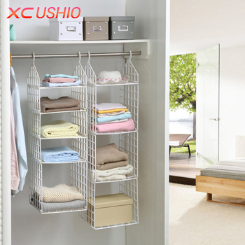 Folding Wardrobe Clothes Underwear Storage Rack Hooks Home Closet Plastic Storage Shelves Hanging Closet Shelves Storage Holder