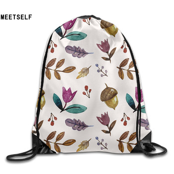 MEETSELF 3D Print Autumn Shoulders Bag Women Fabric Backpack Girls Beam Port Drawstring Travel Shoes Dust Storage Bags